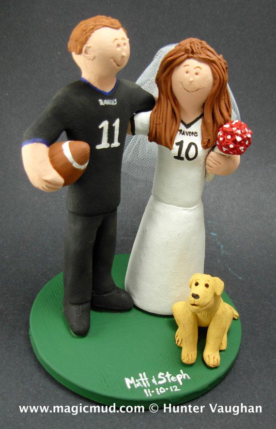 Baltimore Ravens Football Wedding Cake Topper,Football Wedding Anniversary Gift/Cake Topper, NFL Football Wedding CakeTopper,NCAA Caketopper    This photographed listing is but an example of what we will create for you....simply email or call us toll free with your own info and pictures of yourselves, and we will sculpt for you a one of a kind NFL or College Football Wedding Cake Topper figurine!  1 800 231 9814    $235 #magicmud 1 800 231 9814 www.magicmud.com