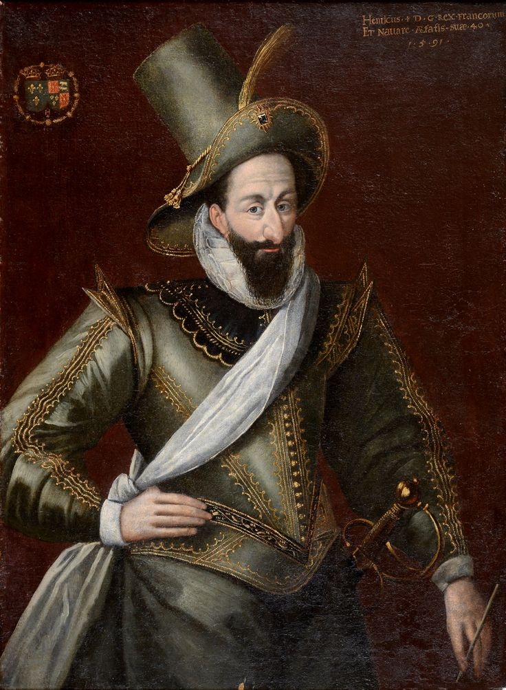 Attributed to François Bunel  (1552-c.1599) Portrait of King Henry lV of France (1553-1610) He was the King of Navarre and the King of France from 1589 until his death. The House of Bourbon is a branch originating from the ancient House of Capet that ruled France from the end of the 10th century until 1328. He was a direct descendant of Louis lX making him a prince du sang- prince of the (royal) blood-the highest rank at court. Henry was the first of the Bourbon monarchs to rule in France.