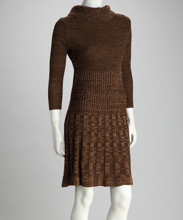 Something like this for gender reveal party - Chocolate & Camel Pleated Dress