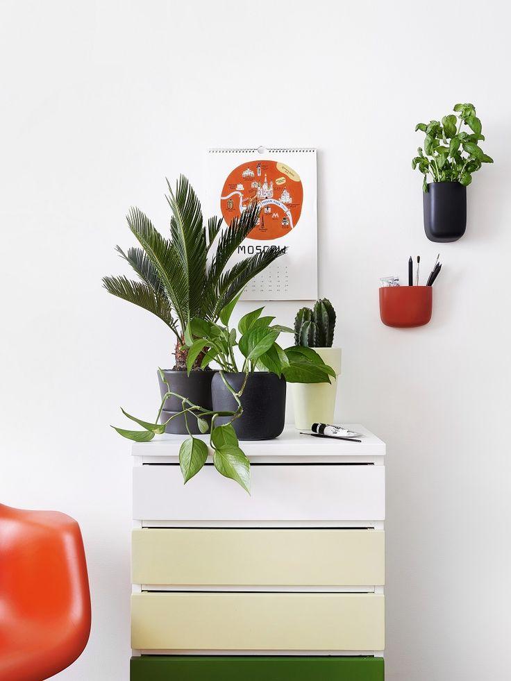 Lipasto uusittu vuoden ajankohtaisimmilla sävyillä: valkea kuulas, basilika. DIY drawer with colors of the year.