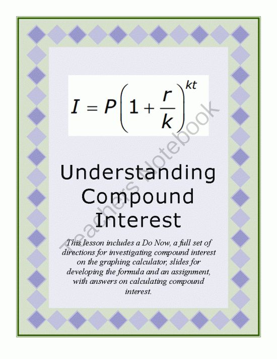 Simple and compound interest math worksheets math help for Terest definition