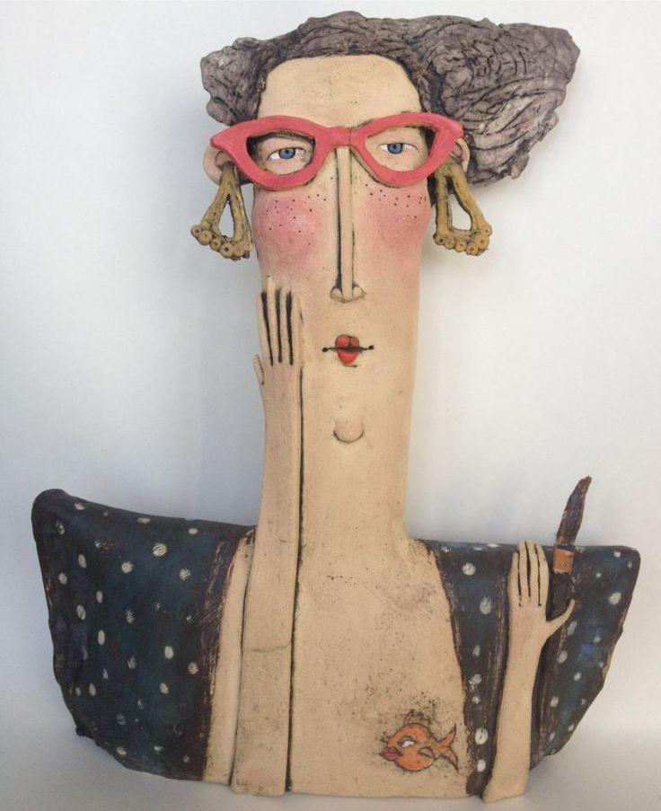 Ceramic sculpture by  Sarah Saunders, Figurative ceramic sculpture, sculpture in clay
