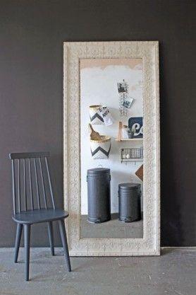 Distressed Cream Tin Mirror