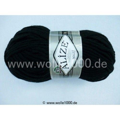 Farbe 60 schwarz - ALIZE Superlana Maxi 100g