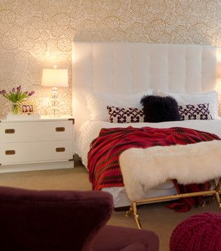 Judith Balis Interiors: Gold and white, Petal Pusher wallpaper, Oh Joy Studio, purple, teenage girls room, glamorous, lucite lamp, fur, upholstered headboard, campaign chest