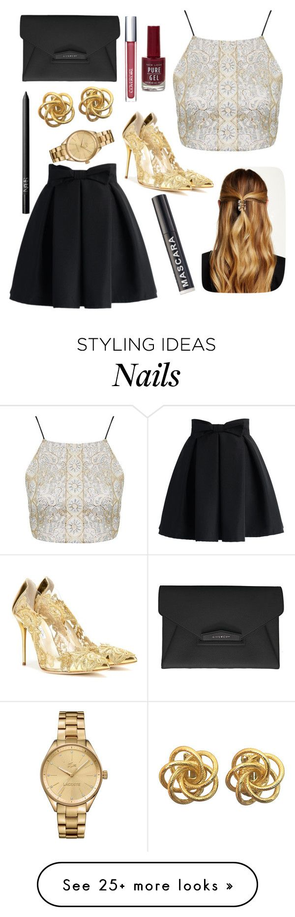 """Gold + Black = Fab"" by barbiecar on Polyvore featuring Givenchy, Chicwish, Topshop, Oscar de la Renta, Natasha Accessories, NARS Cosmetics and Lacoste"
