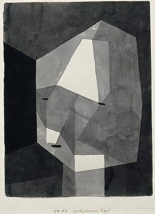 Paul Klee (1879–1940 ). Rough-Cut Head. 1935.  Ink wash and graphite on paper mounted on cardboard