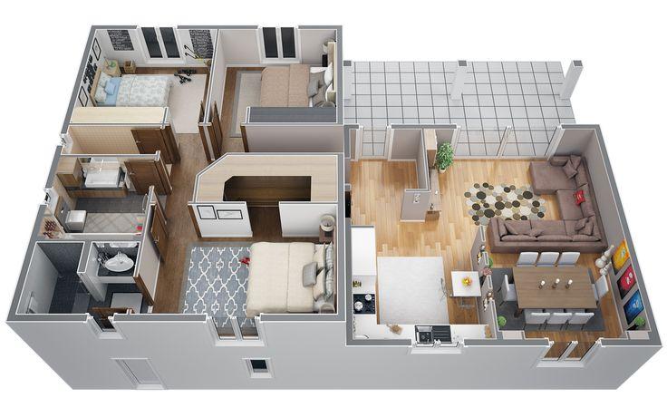 Mod le villa contemporaine 100m2 demi tage agate azur for Voir sa maison en 3d