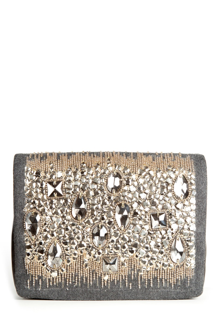 Fall 2012 Oscar de la Renta grey clutch with rhinestones