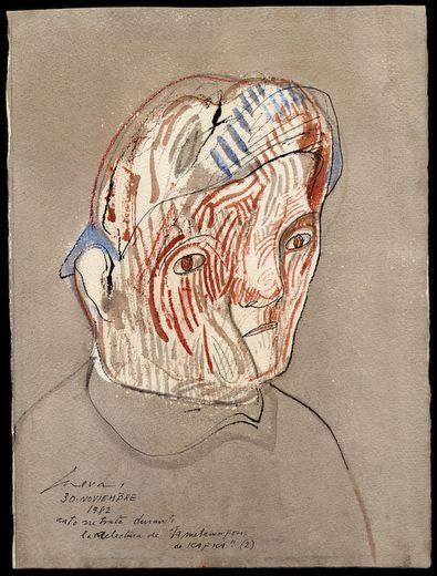 """Jose Luis Cuevas – Autorretrato durante la relectura de """"La metamorfosis de kafka (2)"""", 1982, Plumilla, pincel, acuarela y crayón sobre papel"""