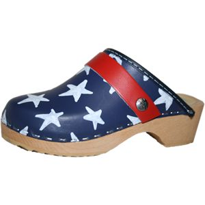 Tessa Clogs: Blue with white stars: White Stars, Patriots Pride, Traditional Heels, Snap Straps,  Geta, Tessa Clogs, Heels Clogs, Children Tessa,  Patten