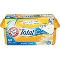 """Church & Dwight 14660 Arm & Hammer 2in1 Dryer Cloth Classic Fresh by Church & Dwight. $7.99. """"ARM & HAMMER"""" 2IN1 DRYER CLOTH CLASSIC FRESH   2-in-1 moist dryer cloths are a combination of a liquid fabric softner, and a dryer sheet Controls static with Classic Fresh Scent Includes 40 sheets."""