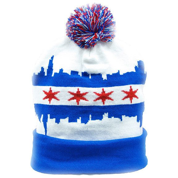 Beanie - Chicago - Dark Blue - With Pom and Cuff