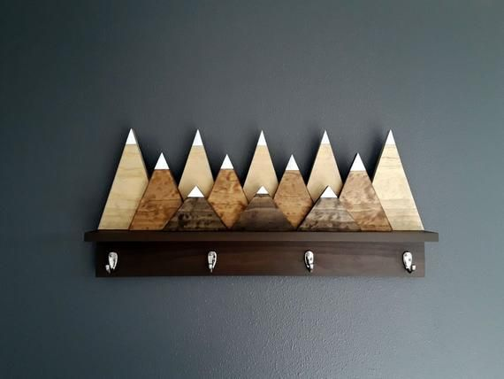 Snow Capped Mountains Wood Wall Coat Rack With Hooks Modern