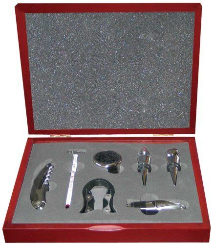 7 PIECE DELUXE WINE TOOL SET - WINE CORKSCREW - WINE STOPPER - THERMOMETER - POURER - FOIL CUTTER and DRIP RING by Harbour Bay Inc.. $14.95. Another Great Value from MyWinesNgifts!  A 7 Piece Satin Metal Finish Wine Tool Accessory Gift Set.  It Includes All the Necessary Tools, 2 Wine Stoppers, Waiters Knife, Thermometer, Pourer, Foil Cutter and Wine Collar packed in a Burgundy Wooden Hinged Top Box.  Bon Apettite!  Be Sure to Check-Out Our StoreFront Here on Amazon for Additio...