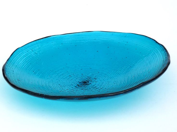 "Medium, Turquoise textured glass bowl, unique glass tableware. Same as previous but darker ""teal"" :)"