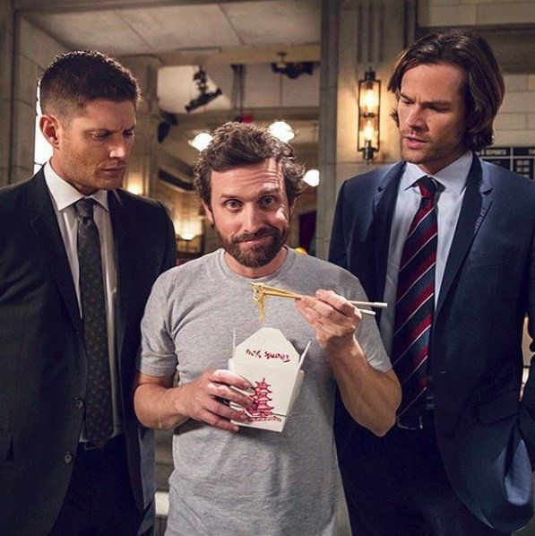 J2 and Rob Benedict BTS #Supernatural 11x21 #Jensen #Jared