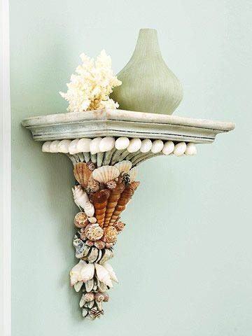 Dress it up With Shells  How to Make It:   1. Plan the shell placement following the lines of the sconce.   2. Adhere the shells to the sconce with maximum-strength epoxy. (Mix up only the amount you can work with right away.)   3. Hold the shells in place until the epoxy sets.
