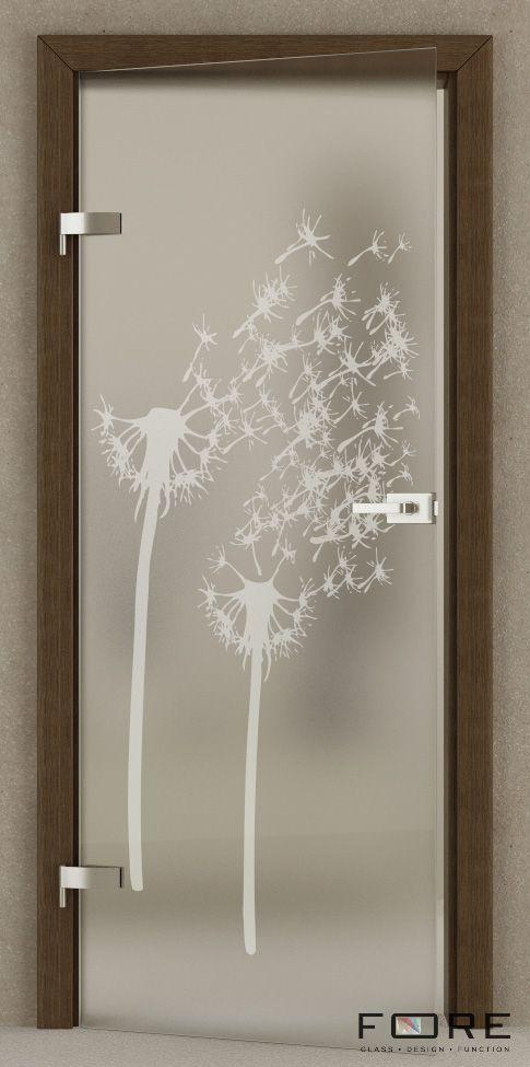 Drzwi szklane ze wzorem Dandelion, na ościeżnicy, glass doors,www.fore-glass.com, #drzwi #drzwiszklane #drzwiwewnetrzne #szklane #glassdoor #glassdoors #interiordoor #glass #fore #foreglass #wnetrza #architektura