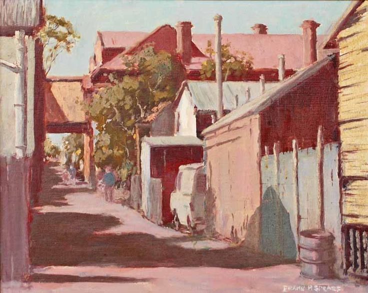 """Laneway Kalgoorlie"", by Frank Spears (1920-1987), Oil on Canvas on Board, 39.5 x 49.5cm. Sold for $425 in March 2013 (McKenzies Auctioneers Perth)."