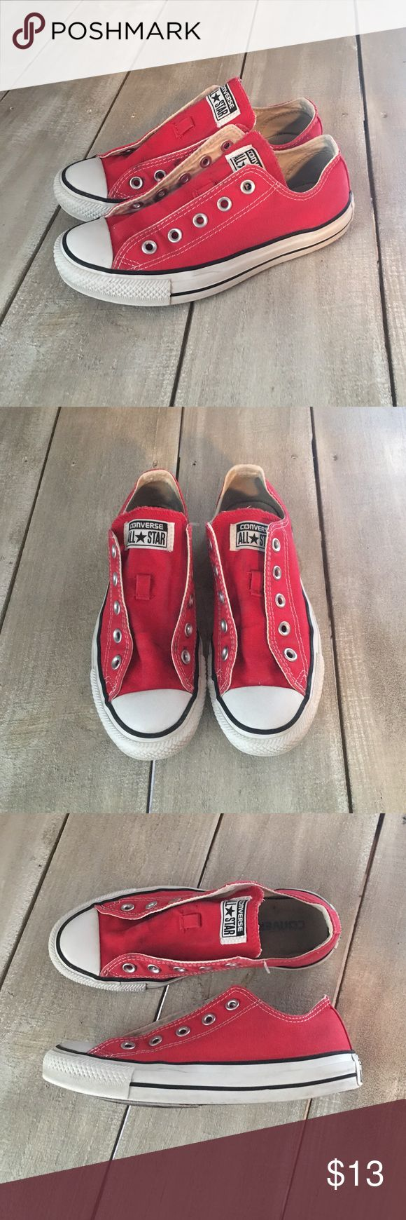 FLASH SALE $11 ⭐️ Converse All Star Sneakers ⭐️ Converse All Star shoes in a women's size 6. Red converse with no laces, they were dirty so I threw them out, lol. I washed the shoes, there is some wear on them but they're in good condition. Just throw on some new laces and you're good to go. Converse Shoes
