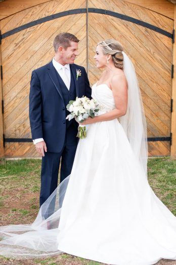 Early Spring Stone Tower Winery Wedding - United With Love | Amber Kay Photography | A Line Bridal Gown with Sparkly Belt | Bride and Groom Photos