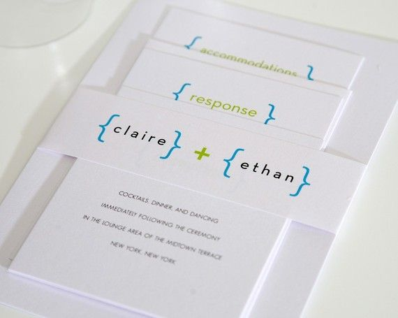 Geeky Wedding Invites...i love the colors and simplicity.