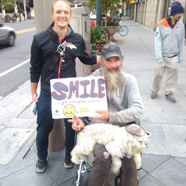 "This man is 16th Street a lot. He has a sign that says, ""Smile, it could be worse."" He always seems happy with his little dog who has sunglasses and a badge on and I hope he makes you smile too friend. Happy Sunday.  #cro #conversion #conversions #content #contentmarketing #contentstrategy #blogging #bloggers #blog #blogtopic #blogtips #blogdesign #bloggingtools #wordpress #visualcontent #infographic #infographics #interview #startup #startups #leanstartup #growth #entrepreneur…"