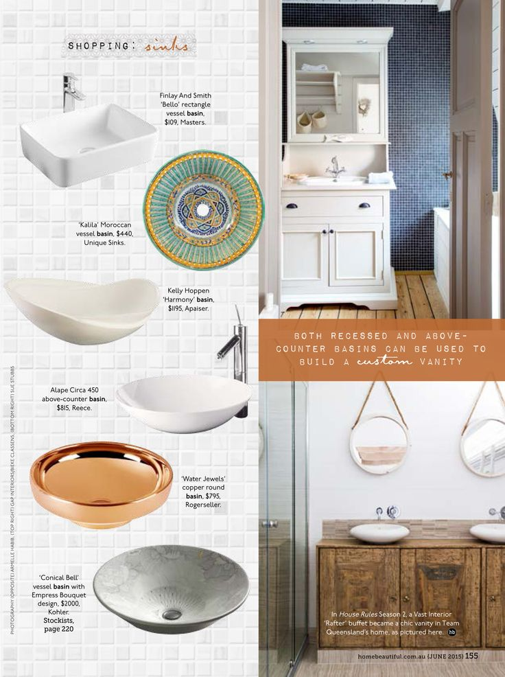 Home Beautiful magazine has featured our beautiful 'Kalila' Moroccan hand painted bathroom sink in the June 2015 issue. Thanks for the callout!