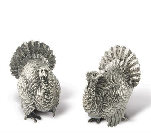Pewter Turkey Salt and Pepper Shakers