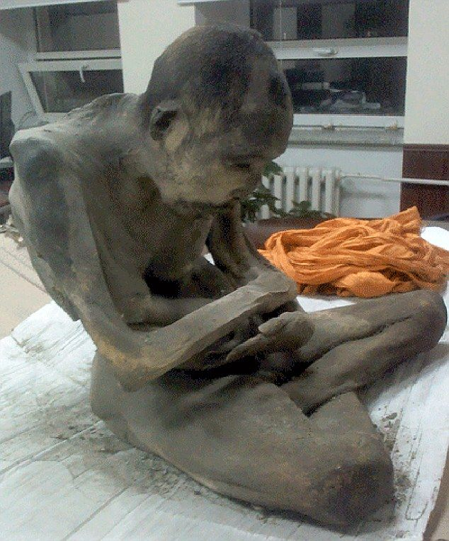 The amazing mummified remains of a man apparently meditating in the lotus position have been unearthed in Mongolia