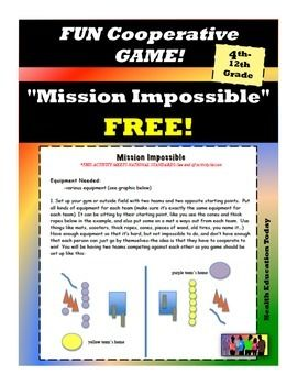 You can play this fun cooperative game inside or outside and all you need is a bunch of miscellaneous objects/equipment!!  Perfect for P.E. and classroom teachers of 4th - 12th graders :)