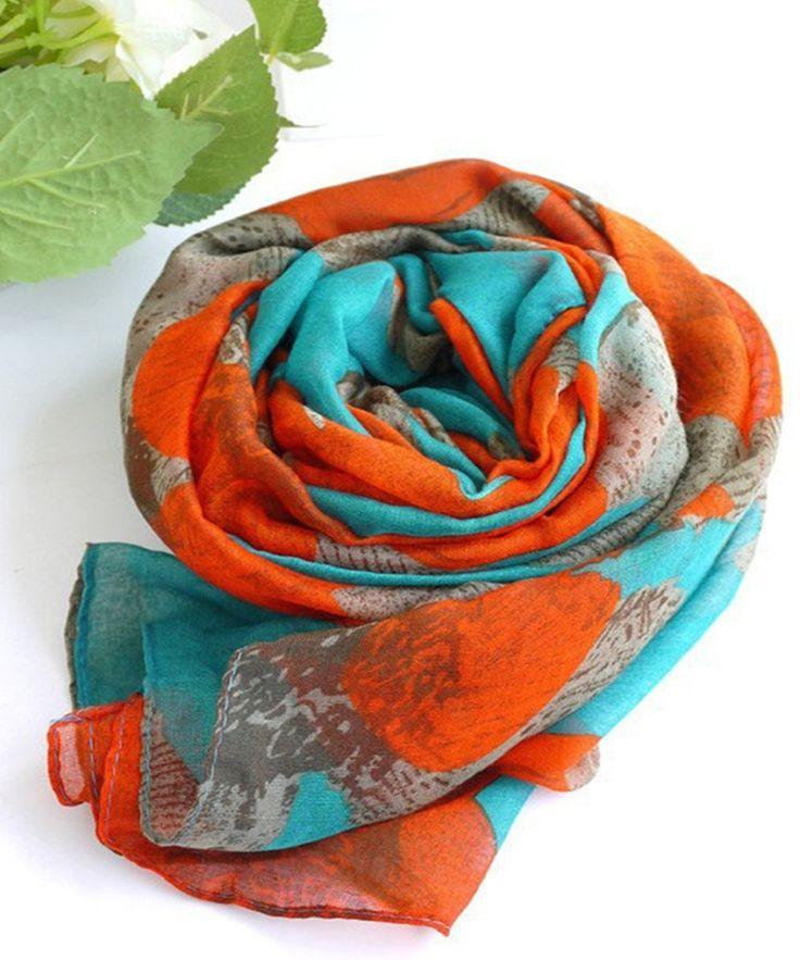 Дизайн бренда 4 цвета Desigual шарф корейский национальный зимние шарфы мода элегантный большой цветок ситец вуаль длинный шарф купить на AliExpress