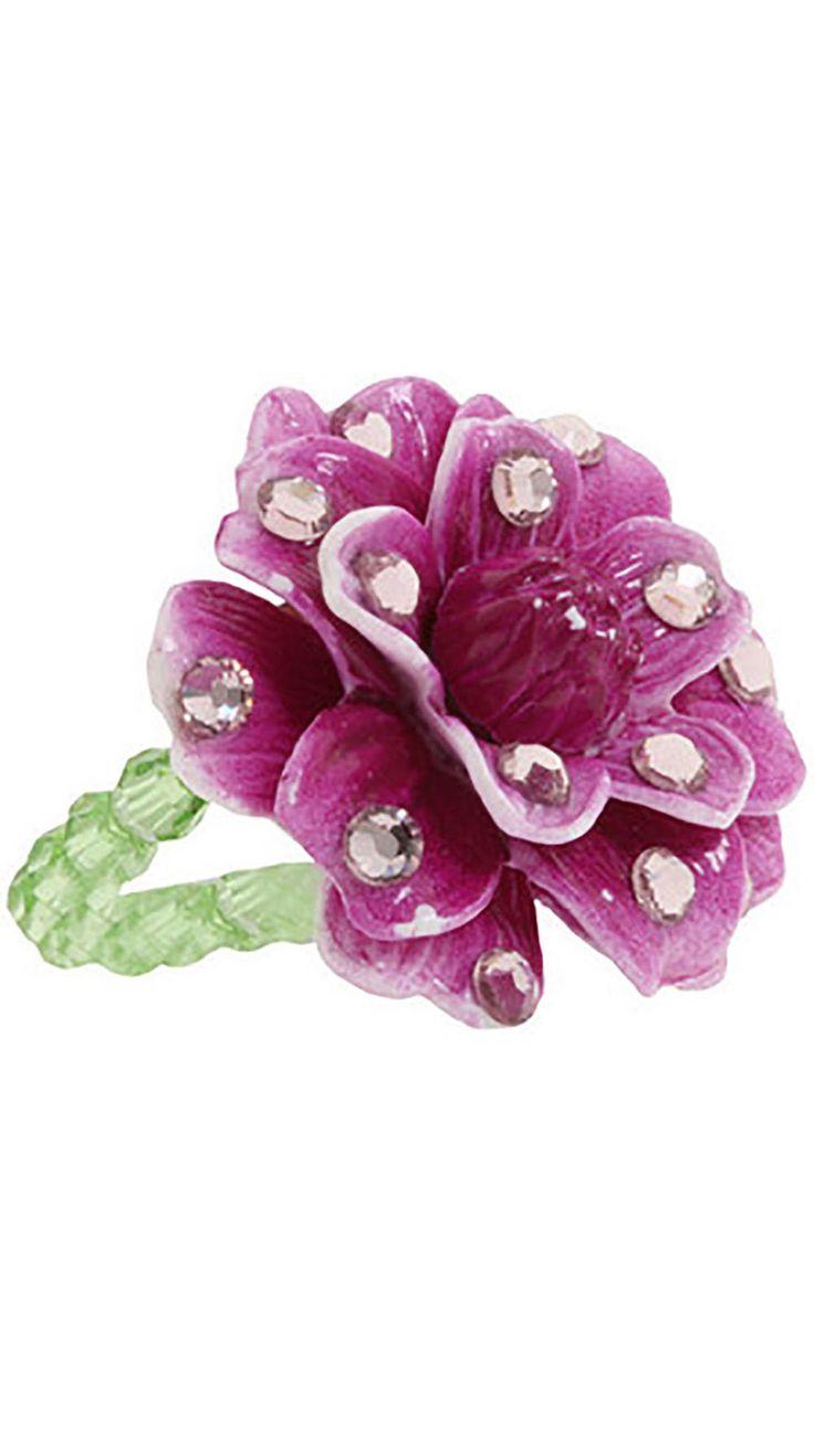 Tarina Tarantino Purple Flower Rhinestone Ring