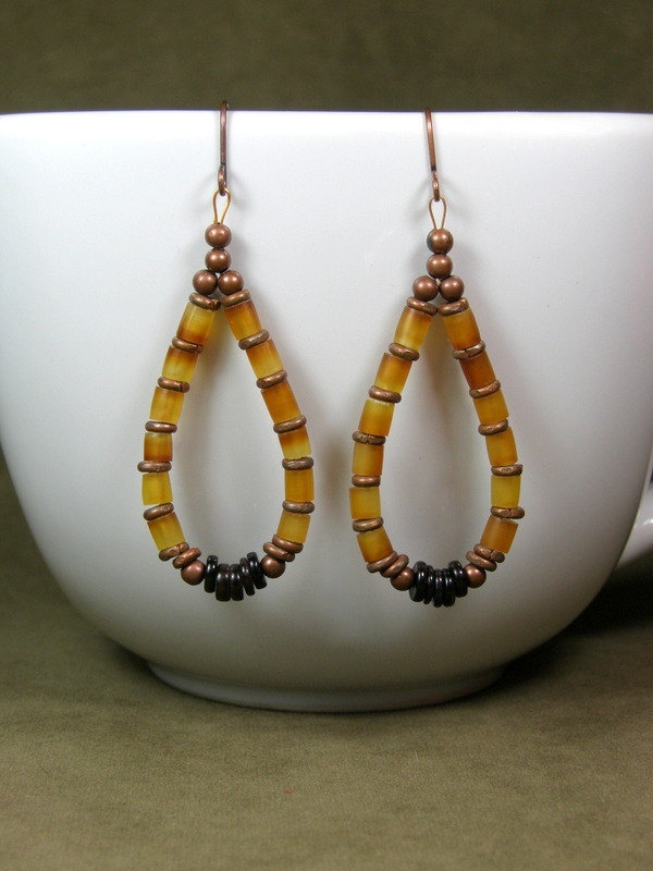 Hoop Earrings - Beaded Earrings - African Earrings - Ethnic Jewelry - Tribal Earrings - Southwest Jewellery. $28.00, via Etsy.