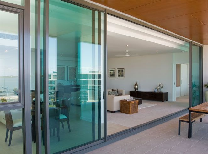 Dual sliding doors create a large opening.
