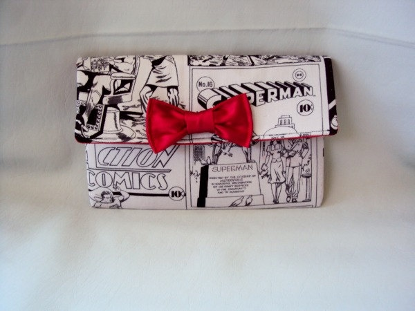 Superman black and grey  comic wallet with red by RebelDowntown, $12.00