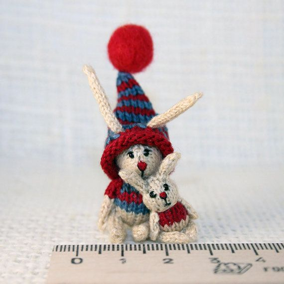 Mini knitted Brothers Bunnies by SecretFriends on Etsy