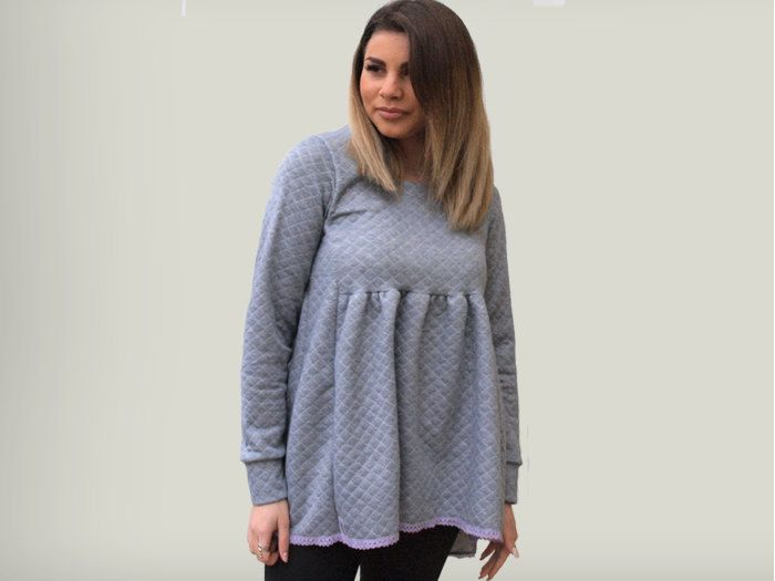 Gray women top /loose women top/ gray top with bow/ asymmetric loose top/ long sleeves top / gift for her/ winter top for women by PepperFashion on Etsy