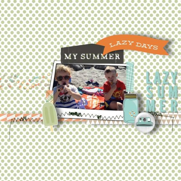 I've used the NEW super cute kit Lazy Summer by Three Dog Pixels. It's also on sale right now!