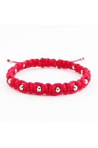 Náramok pletený červený Nerez korálky