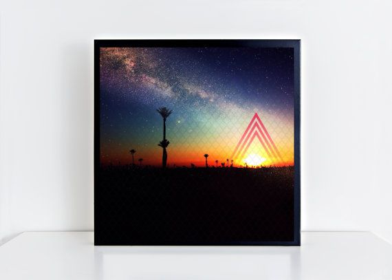 16x16 Moroccan Sunset. Square Giclee Matte Photo Print. Fine art print. Sunset. Photography art. Sacred Geometry. Palm trees.