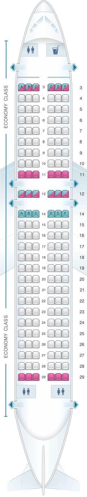 Seat Map Allegiant Air Airbus A319