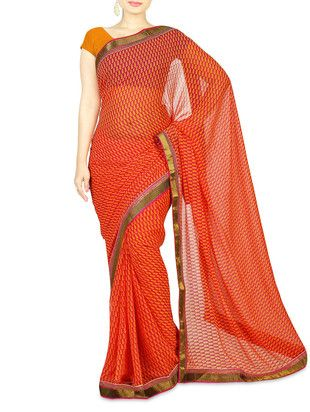 pink printed chiffon saree with embellished border for Rs. 4485/- Shop Now http://www.limeroad.com/pink-printed-chiffon-saree-with-embellished-border-saree-exotica-p1279950#productOverlay