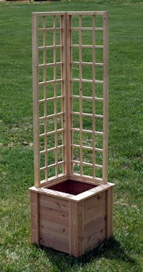 A small trellised planter perfect for patios and corner accents. (clematis, tomatoes,
