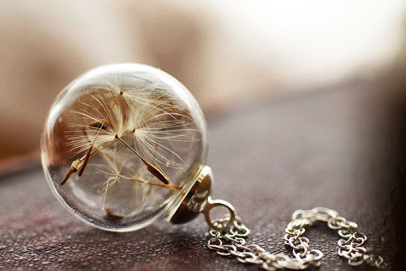 Silver dandelion necklace real dandelion by RubyRobinBoutique