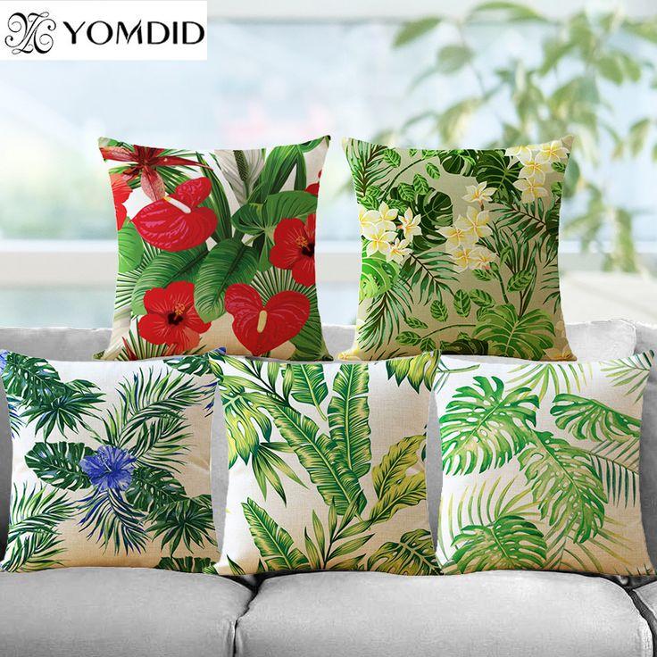 Tropical Plants Cushion Cover Green Leaves Cushion Covers Flowers Pillows Decorative cotton Linen Pillow Case home sofa decor
