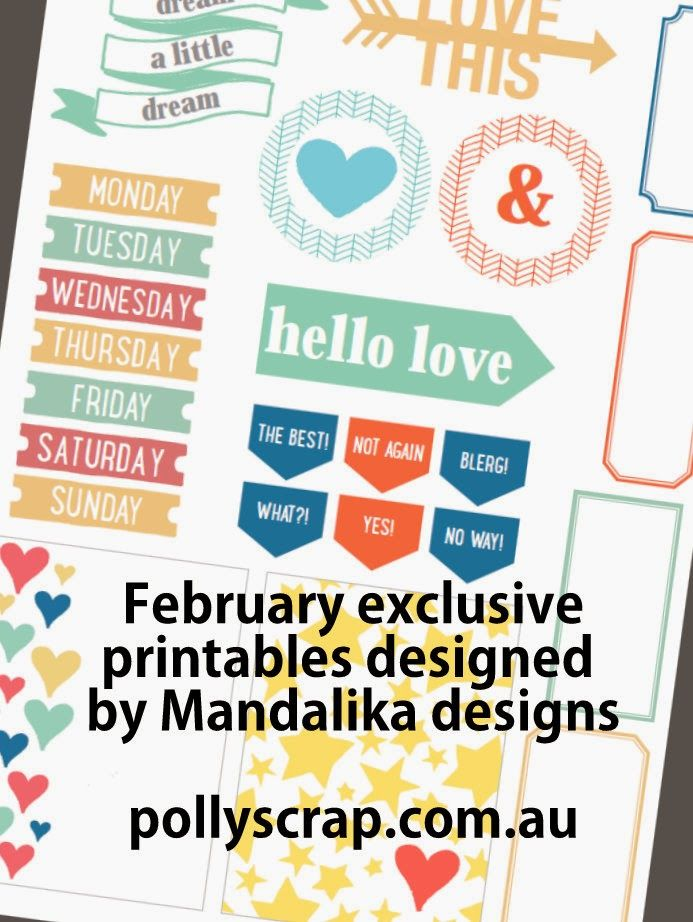 Polly! Scrapbooking & Pocket Scrapbooking Kits February Exclusive Printables designed by Mandalika Designs