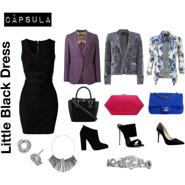 A fashion look from November 2015 featuring black bodycon dress, purple jacket and sequin blazer. Browse and shop related looks.