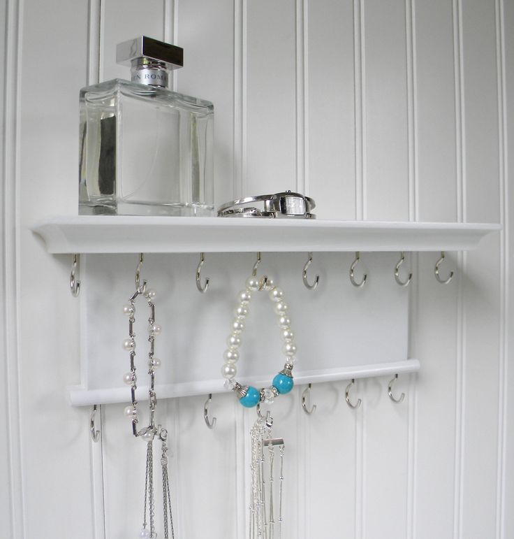 "Jewelry Organizer Necklace Bracelet Holder Display 12"" - Wall Mounted Necklace Hanger - Brilliant White - Handmade by BarrettHillWoodCraft on Etsy https://www.etsy.com/listing/235653532/jewelry-organizer-necklace-bracelet"